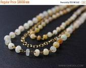 CYBER MONDAY SALE White Opal Layered Necklace – Boho Beaded Necklace