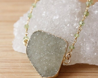 50 OFF SALE Moss Green Druzy Necklace - Connector Necklace - Green Peridot Chain