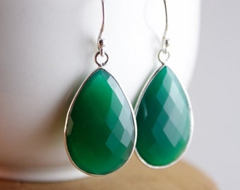 CHRISTMAS SALE Silver Green and Blue Gemstone Teardrop Earrings - Choose Your Colour - 925 Silver