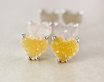 CHRISTMAS SALE Natural Heart-Shaped Druzy Studs - Choose Your Druzy - Sterling Silver