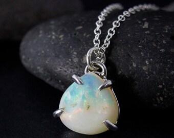 CHRISTMAS SALE Silver Australian Opal Necklace - Opal Teardrop Pendant - October Birthstone