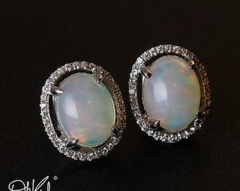 VALENTINE SALE Australian Opal Stud Earrings - Pave Diamond Setting - White Opal, Post Setting, Luxury Earrings