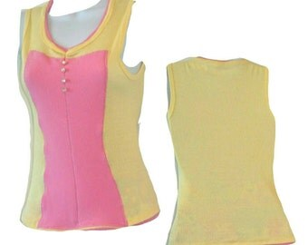Tank Top - Pink - Yellow - Ribbed Cotton - Buttons Details - Hour Glass - Color Block - UNIQUE - Pastels - Pullover
