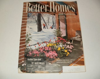 Vintage Better Homes and Gardens Magazine January 1954 - Retro Scrapbooking Paper Ephemera 1954 Chrysler Car Ad