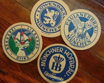 Vintage German Munchen Munich,. Germany Beer Coasters 1960s