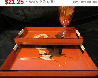 HalloweenSpecial Mid Century Rust Color Trays Featuring Flying Geese,  Kitchen and Dinning Tray's, Home Decor, Migrating Geese Trays Vint...