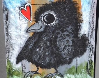 Baby Bird/Crow Art, Nature/Love/Newborn Original, Acrylic Painting