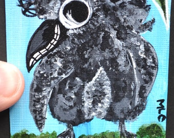 Baby Bird, Crow, Aceo/Atc/Art, Smile/Dance, Painting, Original Acrylic, Shake Your Tail Feathers