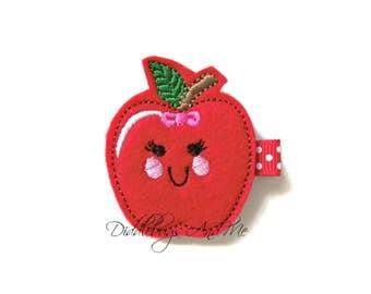 Kawaii Apple Hair Clip, Red Apple Hair Clip, Food Hair Clip, Felt Hair Clips, Toddler Hair Clip, Felt Hair Clip, Back To School Hair Clip