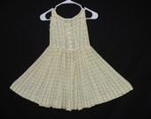1950's little girl's day dress yellow flower striped toddler fit and flare sundress size 6X