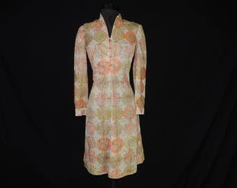 mod gold embroidered dress 60s yellow boho floral shift dress medium