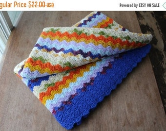 SALE SALE SALE Vintage Afghan Blanket Lap Throw Crocheted Shells Bright Colorful Home Decor