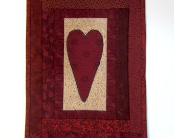 Primitive Red Valentine Quilted Heart Mug Rug Table Topper Mini Wall Quilt Valentine Table Decor Handmade
