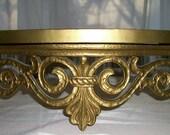 Vintage Ornate Gold Shelf  Hollywood Regency  Large 1960 Retro Shabby Chic  USA