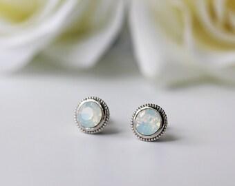 White Opal Swarovski Crystal Titanium Studs Opalescent Silver Bezel Nickel Free Simple Earrings