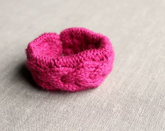 Knitted Pink Yarn Bracelet, Knit Jewelry