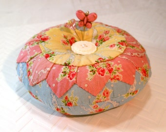 Pincushion- Charming Roses, Dresden Applique with emery, Ready to Ship