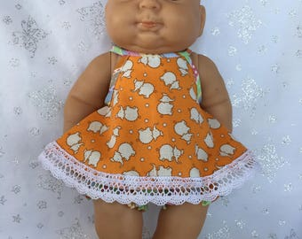 Tiny Elephants Dress with Bloomers for 13 inch baby doll like Berenguer
