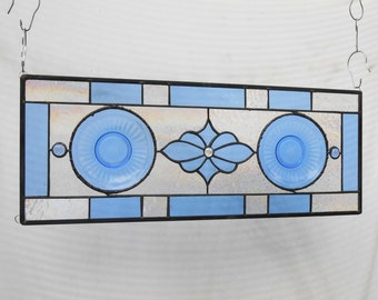 Stained Glass Transom Window, Vintage Depression Glass Stained Glass Panel, Aurora Sapphire Blue Plate Panel, Antique Stained Glass Valance