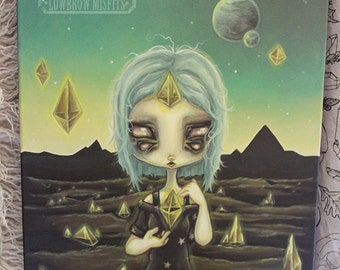 """Cosmic witch alien Moldavite crystal lowbrow art Original Acrylic painting  -16"""" by 20"""""""