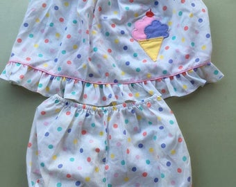 Girls vintage 80s ice cream swing top and  bloomers set 24m