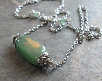 Green Aventurine Necklace - Heart Chakra Necklace - Minimalist/Metaphysical/Spiritual Jewelry