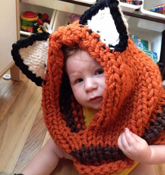 Knit animal hoods for kids or adults - fox, bear, bunny or cat
