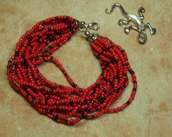 Natural Red Coral Seed Bead Bracelet