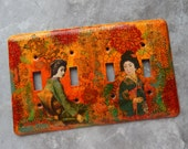 RESERVED for LORI, 4 gang light switch cover, mixed media, collage, Asian theme, yellow, orange, red, blue, teal