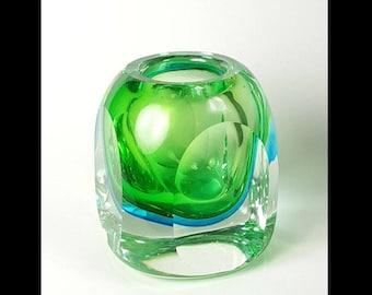 Murano Sommerso Vase Green Blue
