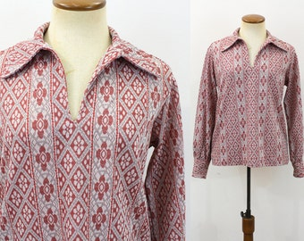1970s Shirt Disco Blouse Tunic Top Open V Neck Long Sleeve Retro Vintage 70s Pullover Floral Pointy Collar Bohemian Hippie Red Print Medium