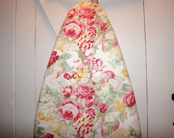 "Gorgeous Cottage Flowers Ironing Board Cover — Laura Ashley ""English Country"" Floral Fabric — Gift Quality — Fits Boards to 18 Inches Wide"
