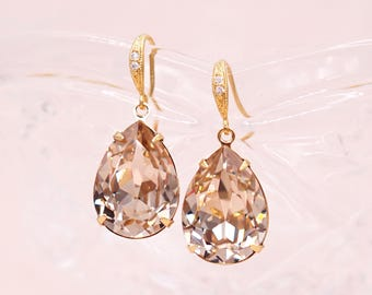 Light Silk Gold Wedding Bridal Swarovski Crystal Teardrop Earrings, Bridesmaid Earrings Wedding Brides Earrings, Carrie