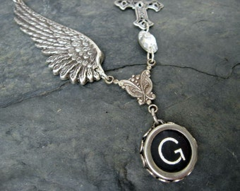 Wing and a Prayer - Typewriter Key Necklace - Initial Necklace - Typewriter Key Jewelry - Letter G