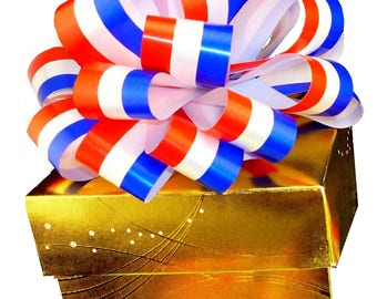 6 Patriotic Pull Bows Red White Blue Fundraising Homecoming Gift Party  Decorations