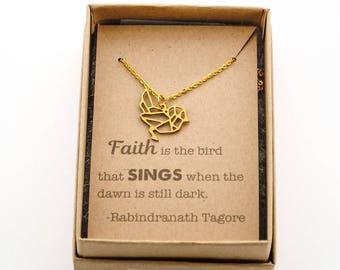 Geometric Bird Necklace - Faith is the bird that sings when the dawn is still dark - Minimalist - Encouragement gift