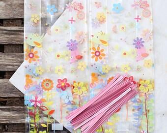 Spring Flowers Cellophane Bags & Twist Ties, Easter Candy Bags, Clear Candy Bags, Easter Favor Bags, Candy Buffet Bags, Easter Sweet Bags
