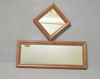 Vintage Rectangular & Square Wall Mirrors in Wood Frame Set of 2, Pair of Narrow Mirrors in Distressed Wooden Frame Farmhouse Cottage Rustic