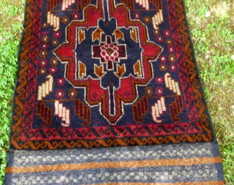 "Red/Brown Baluchi rug/kilim from Afghanistan. 4ft 6"" x 2 ft 8. 140 x 85 cm Hand woven."