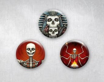 Red Zen Skulls, Pinback Buttons, Original Art Design, 1.25 inch, Set of 3