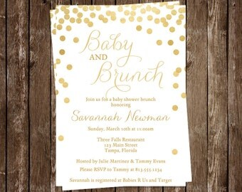 Brunch, Baby Shower Invitations, Gold, Confetti, Gender Neutral, Bubbly, Glitter, Sprinkle, 10 Printed Cards, FREE Shipping, BRBUGD