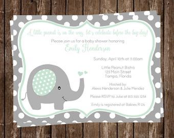 Elephant. Baby Shower Invitations, Neutral, Polka Dots, Mint, Green, 10 Printed Cards and Envelopes, FREE Shipping, PDEGN, Custom, unisex