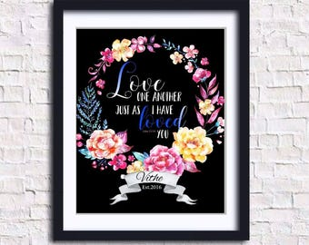 Love One Another/JW/Home Decor/Printable Art/Wedding Gift/Modern Wall Print/Anniversary Gift/Digital Download