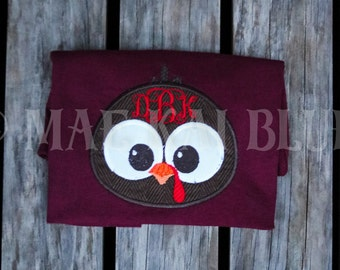 Adorable Turkey Face Monogrammed Appliqué Embroidered Personalized Shirt or Bodysuit
