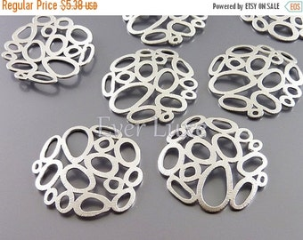 15% SALE 2 large abstract multi-bubble charms, abstract circle ring pendants, jewelry / jewellery supplies1484-MR-LG (matte silver, Lg, 2 pi