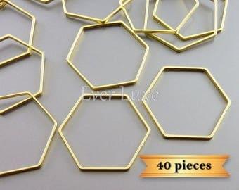 40 honeycomb / hexagonal 22mm metal charms, open honeycomb pendants 937-MG-22-bulk (40 pieces)