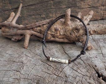 White Tube Bone Adjustable Leather Bracelet, Simple Leather Bracelet, Unisex Bracelet