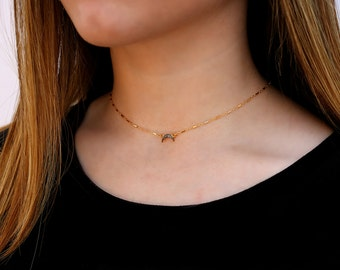 Diamond horn Necklace, Double Horn Necklace, Crescent Moon Choker Necklace, Upside Down Moon Necklace, 14K Gold Filled and Genuine Diamonds