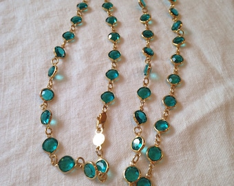 Austrian Necklace Bezel Crystals Teal