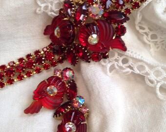 Edlee Cornacopia Rhinestone Bracelet in Red